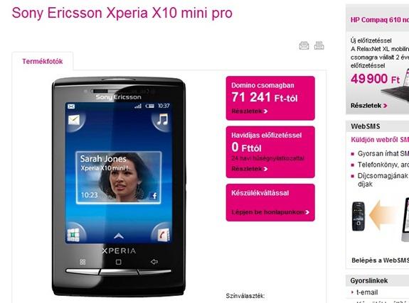 T-Mobile Kapható a Sony Ericsson Xperia X10 Mini Pro