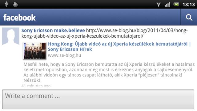 Xperia arc - Facebook