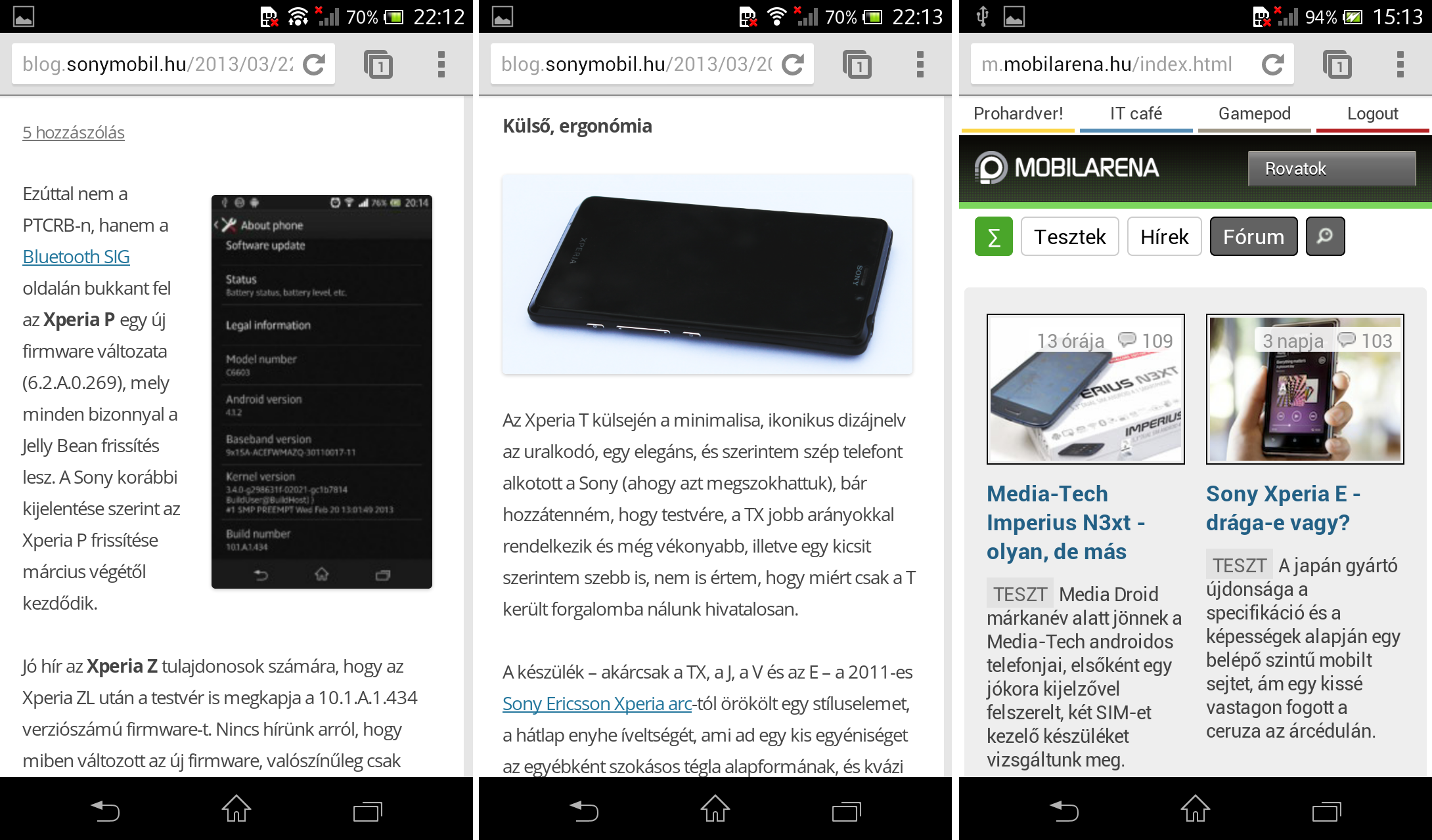 Xperia T browser