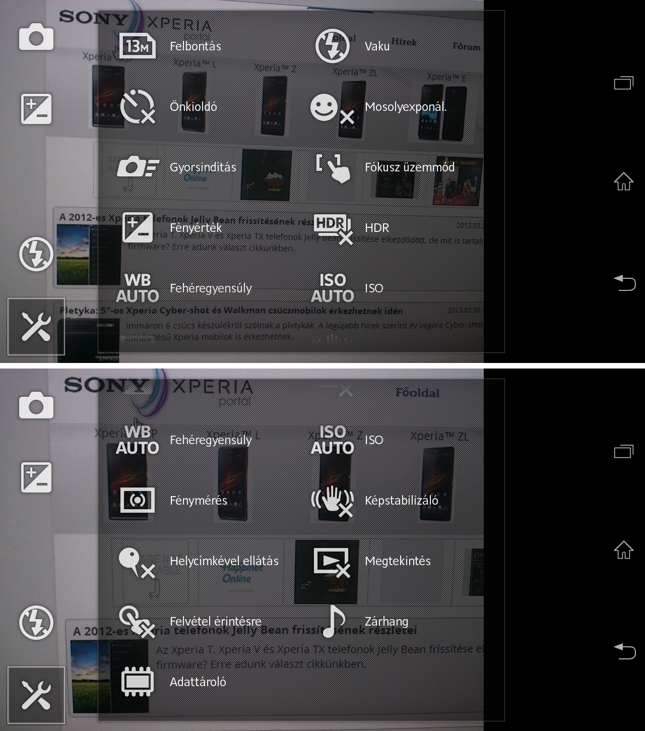 Xperia T camera normal options
