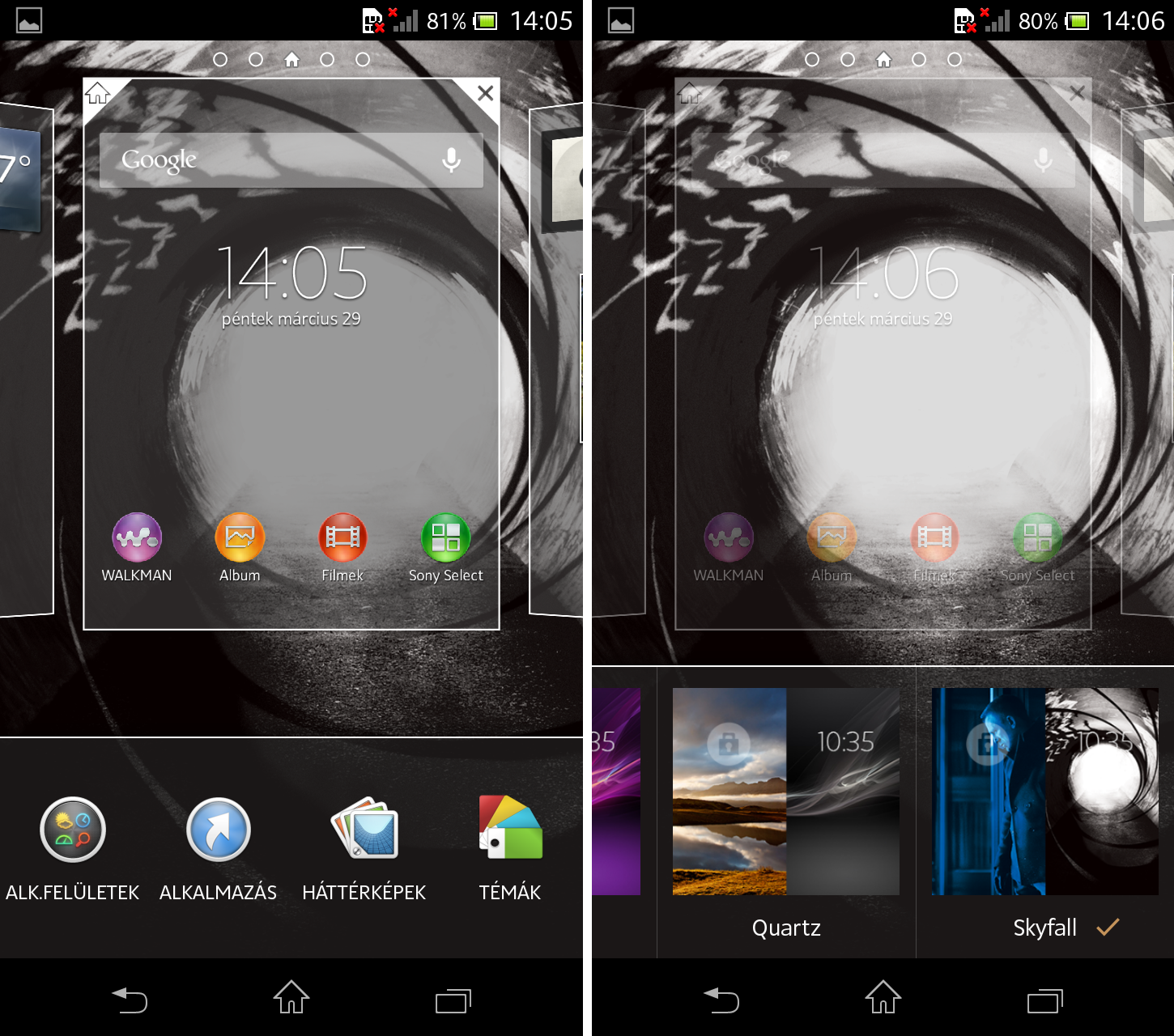 Xperia T homescreen-themes